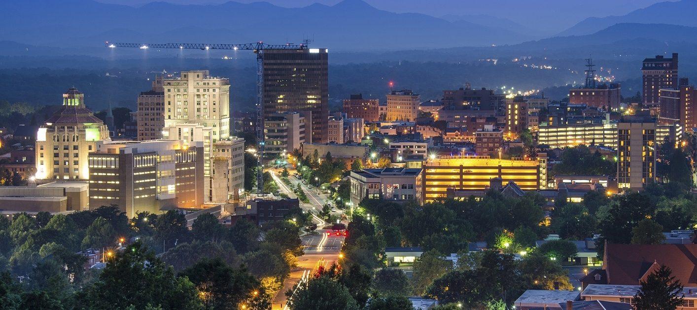 Asheville, North Carolina, USA at twilight